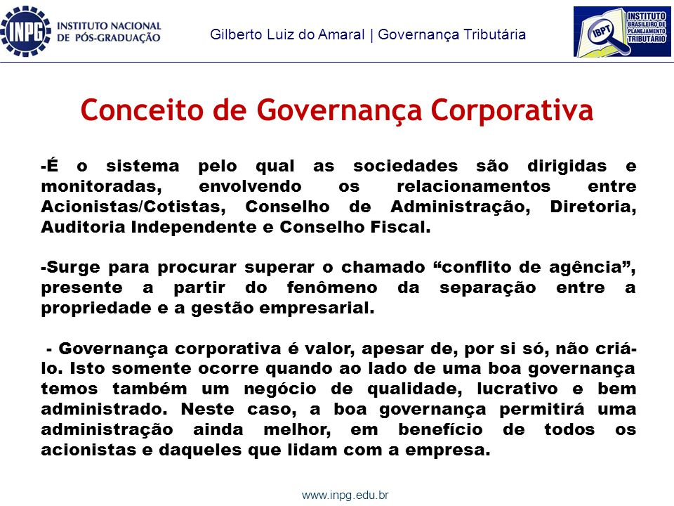Conceito de Governança Corporativa