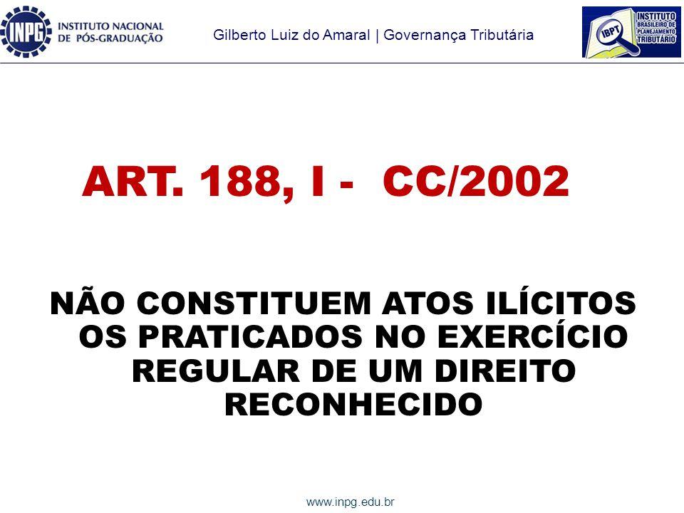 ART. 188, I - CC/2002 NÃO CONSTITUEM ATOS ILÍCITOS OS PRATICADOS NO EXERCÍCIO REGULAR DE UM DIREITO RECONHECIDO.