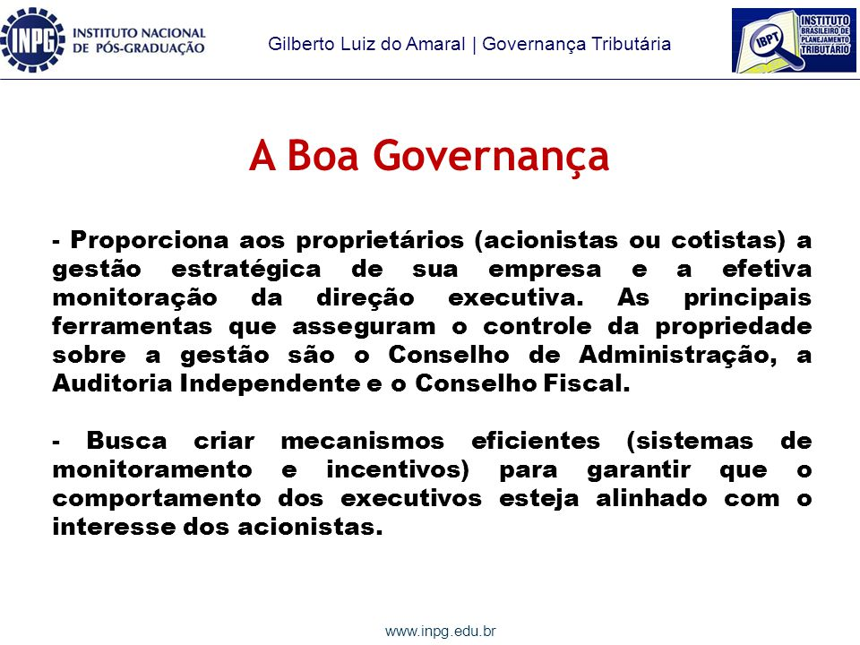 A Boa Governança