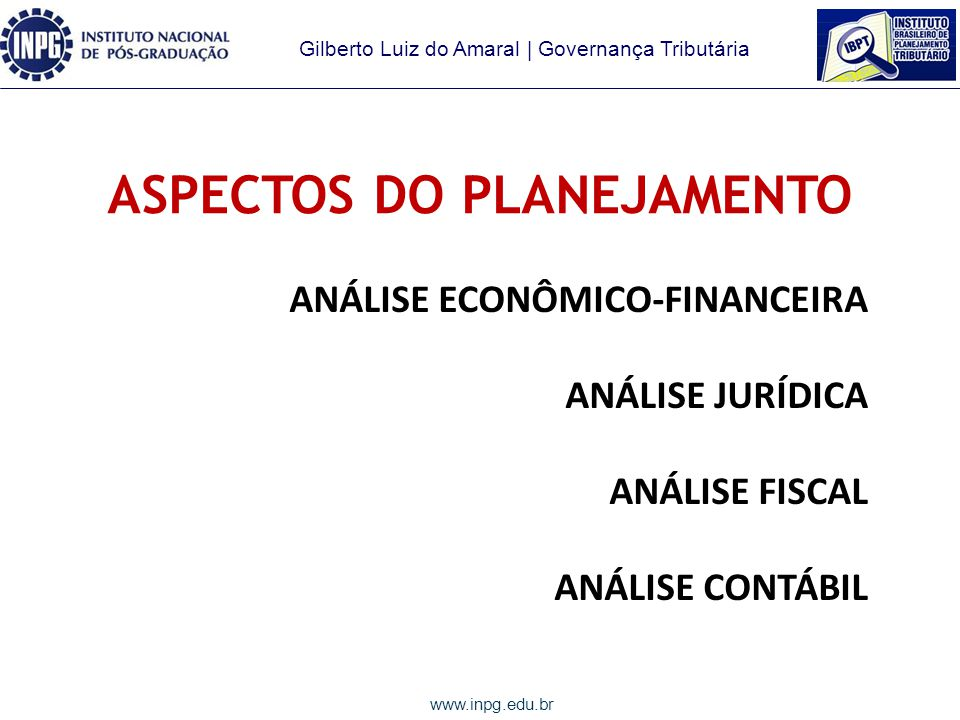 ASPECTOS DO PLANEJAMENTO