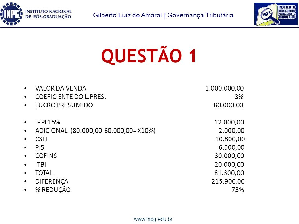 QUESTÃO 1 VALOR DA VENDA 1.000.000,00 COEFICIENTE DO L.PRES. 8%