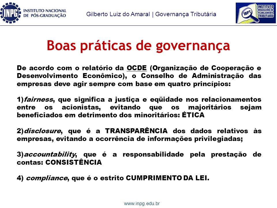 Boas práticas de governança