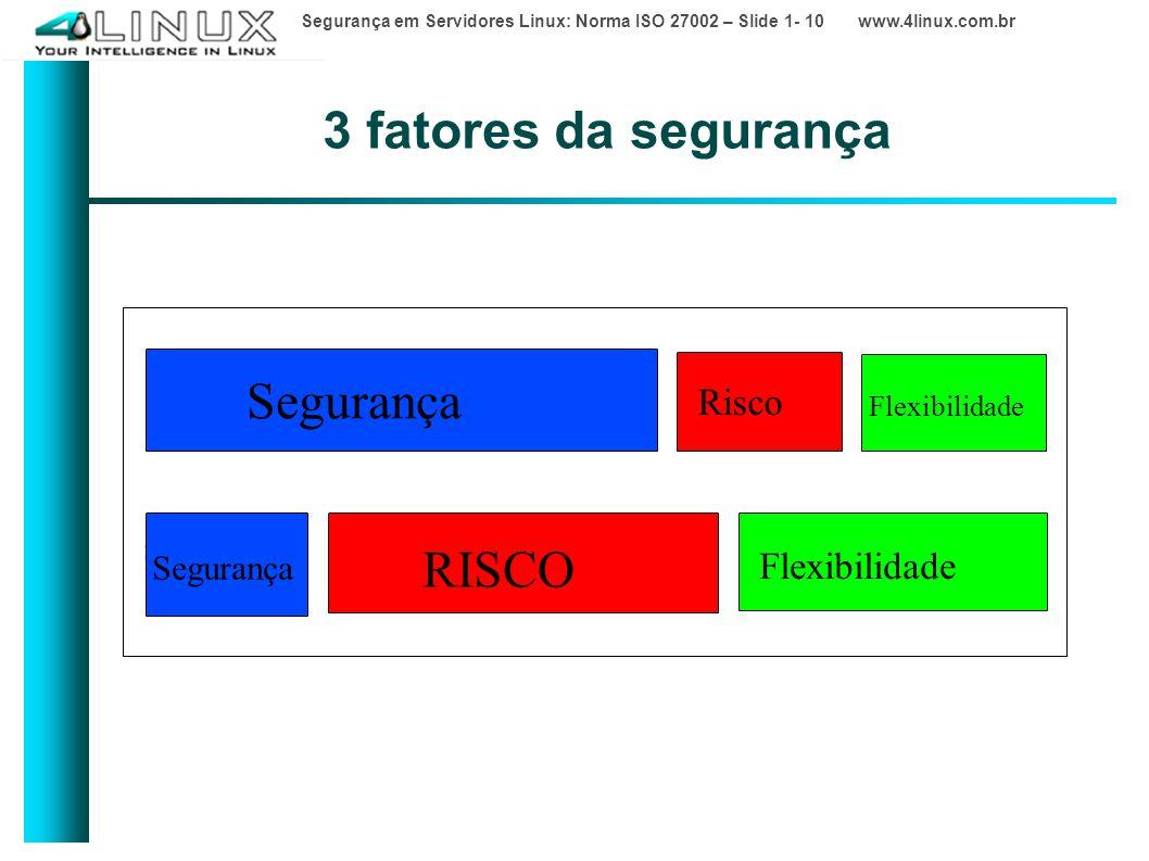 3 fatores da segurança Segurança RISCO RISCO Risco Flexibilidade