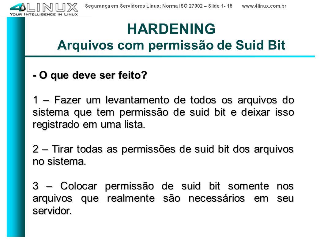HARDENING Arquivos com permissão de Suid Bit
