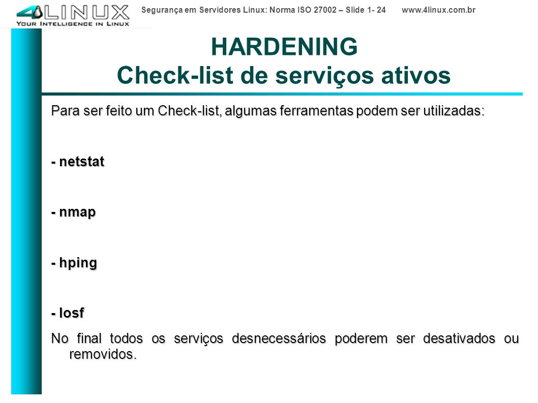 HARDENING Check-list de serviços ativos