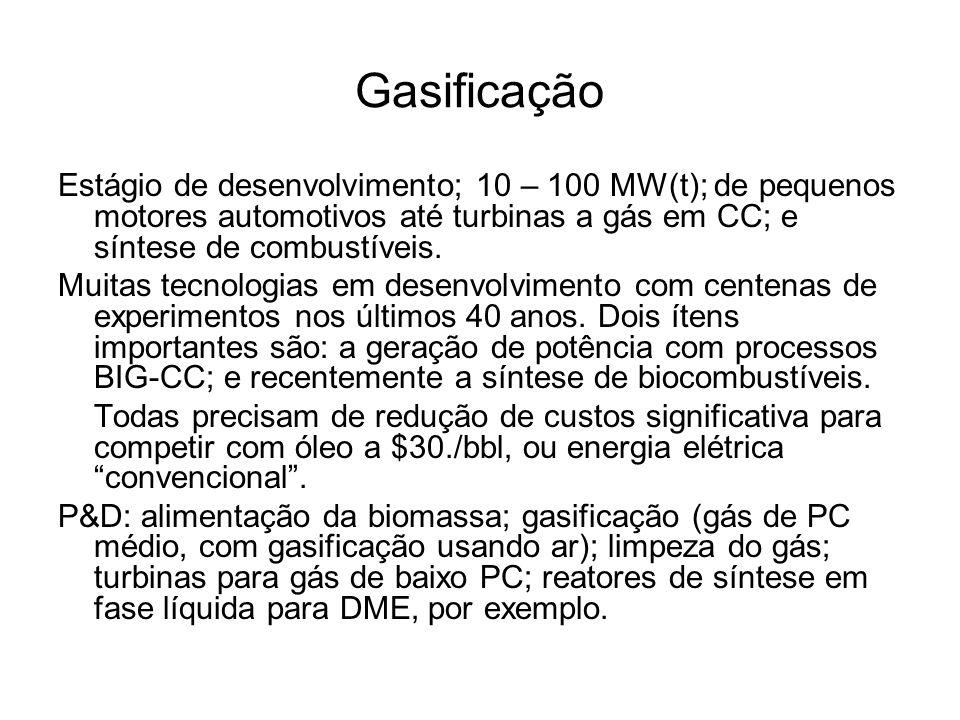 Gasificação Estágio de desenvolvimento; 10 – 100 MW(t); de pequenos motores automotivos até turbinas a gás em CC; e síntese de combustíveis.