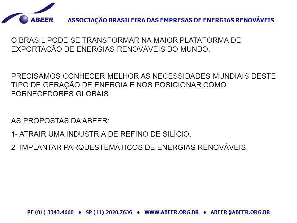 O BRASIL PODE SE TRANSFORMAR NA MAIOR PLATAFORMA DE EXPORTAÇÃO DE ENERGIAS RENOVÁVEIS DO MUNDO.
