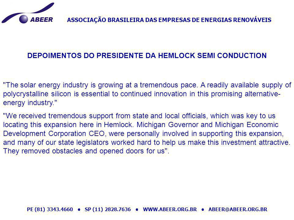 DEPOIMENTOS DO PRESIDENTE DA HEMLOCK SEMI CONDUCTION