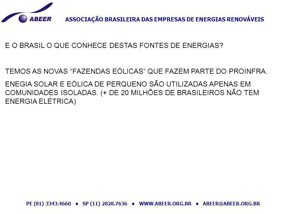 E O BRASIL O QUE CONHECE DESTAS FONTES DE ENERGIAS