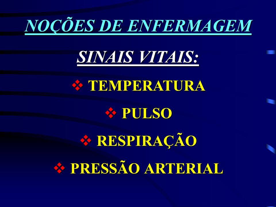 NOÇÕES DE ENFERMAGEM SINAIS VITAIS: