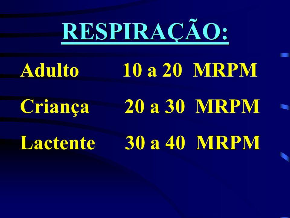 RESPIRAÇÃO: Adulto 10 a 20 MRPM Criança 20 a 30 MRPM