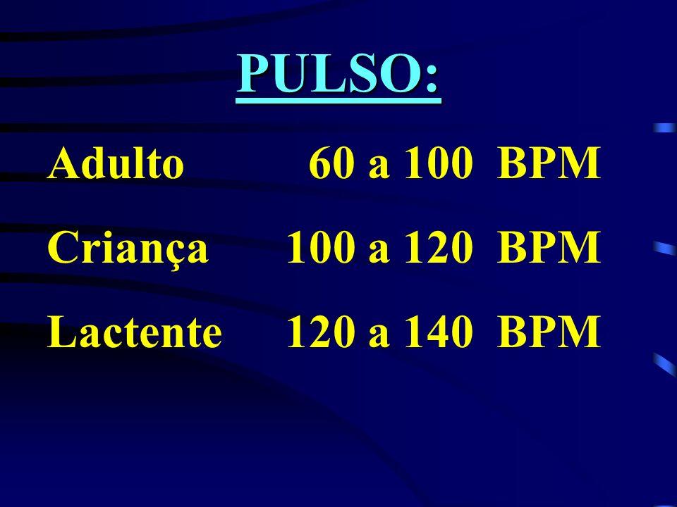 PULSO: Adulto 60 a 100 BPM Criança 100 a 120 BPM