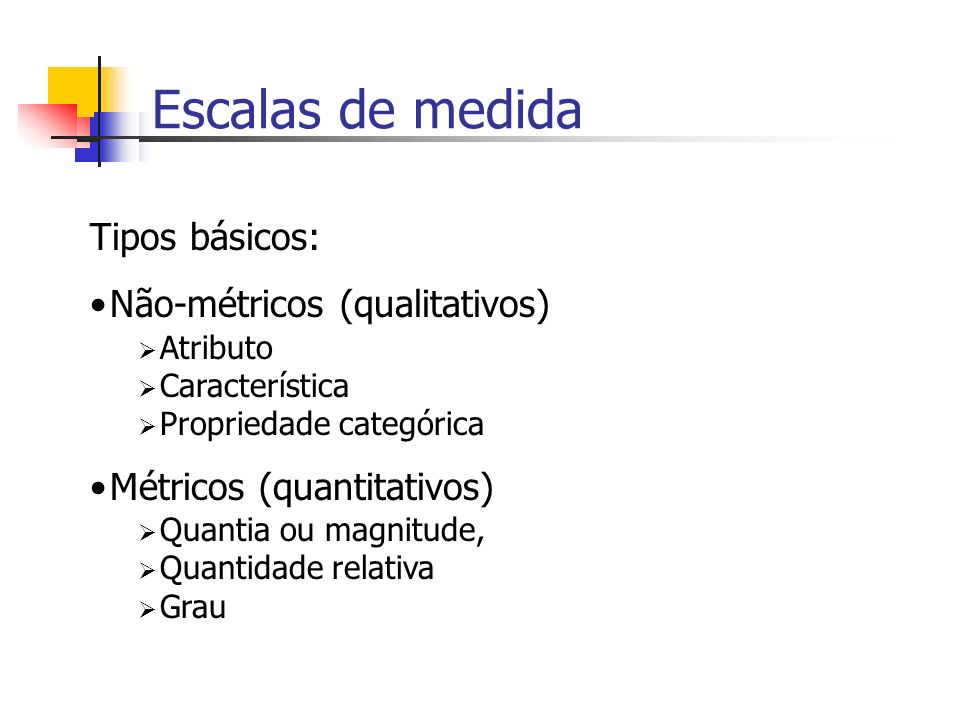 Escalas de medida Tipos básicos: Não-métricos (qualitativos)
