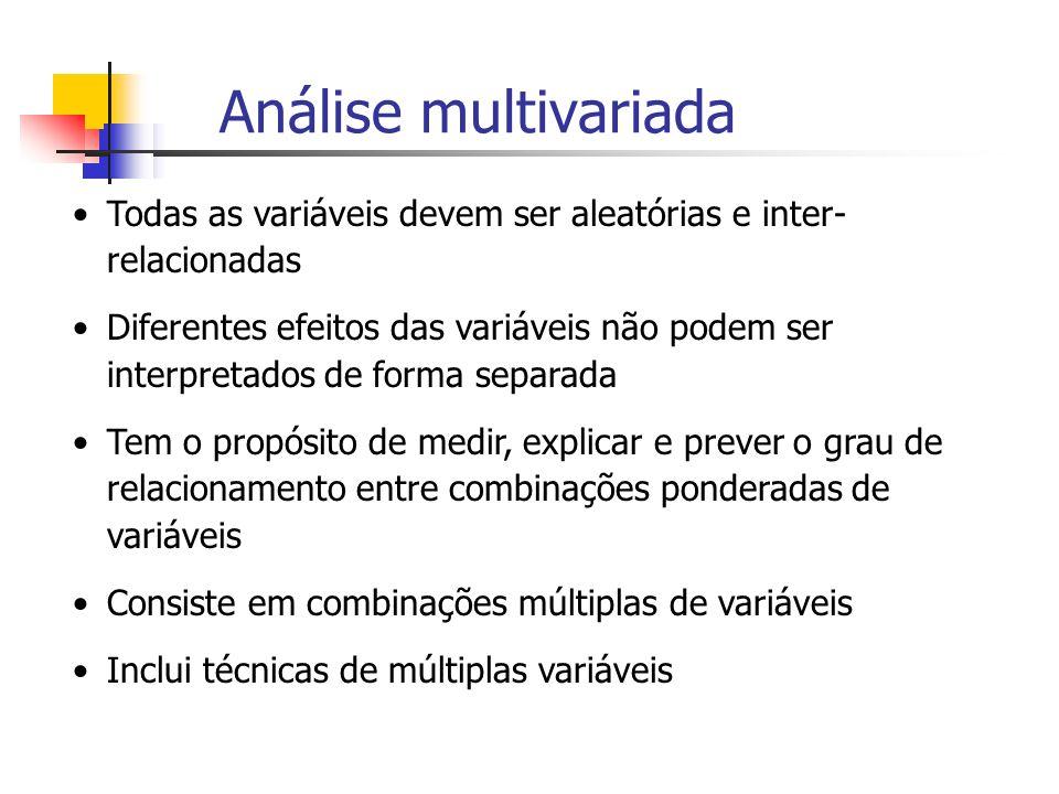 Análise multivariada Todas as variáveis devem ser aleatórias e inter-relacionadas.