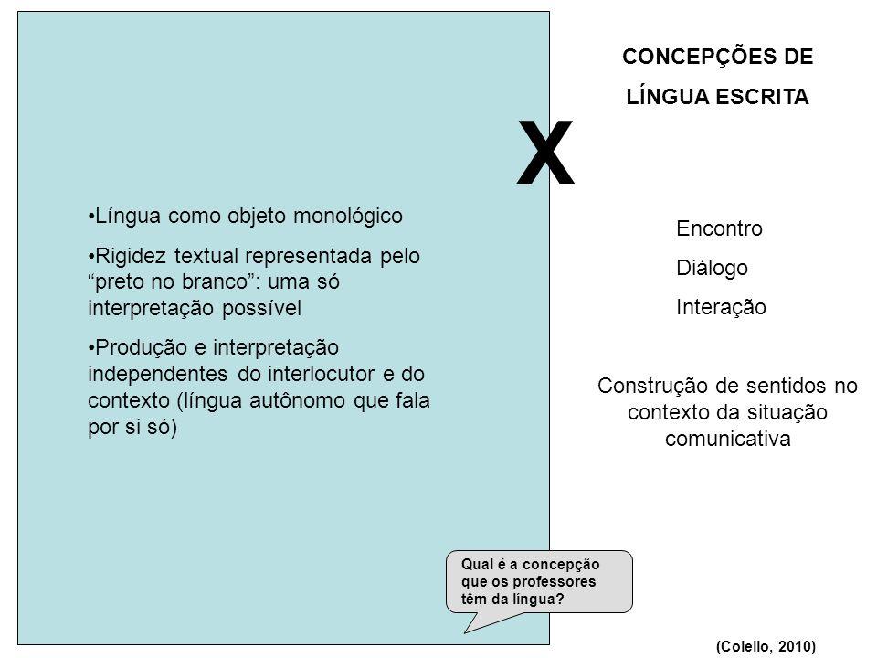 X 2) Língua é expressão de ideias 1) Língua é código CONCEPÇÕES DE