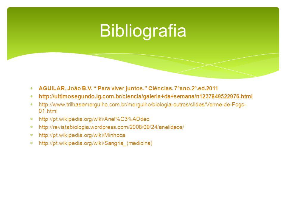 Bibliografia AGUILAR, João B.V. Para viver juntos. Ciências. 7ºano.2º.ed.2011.