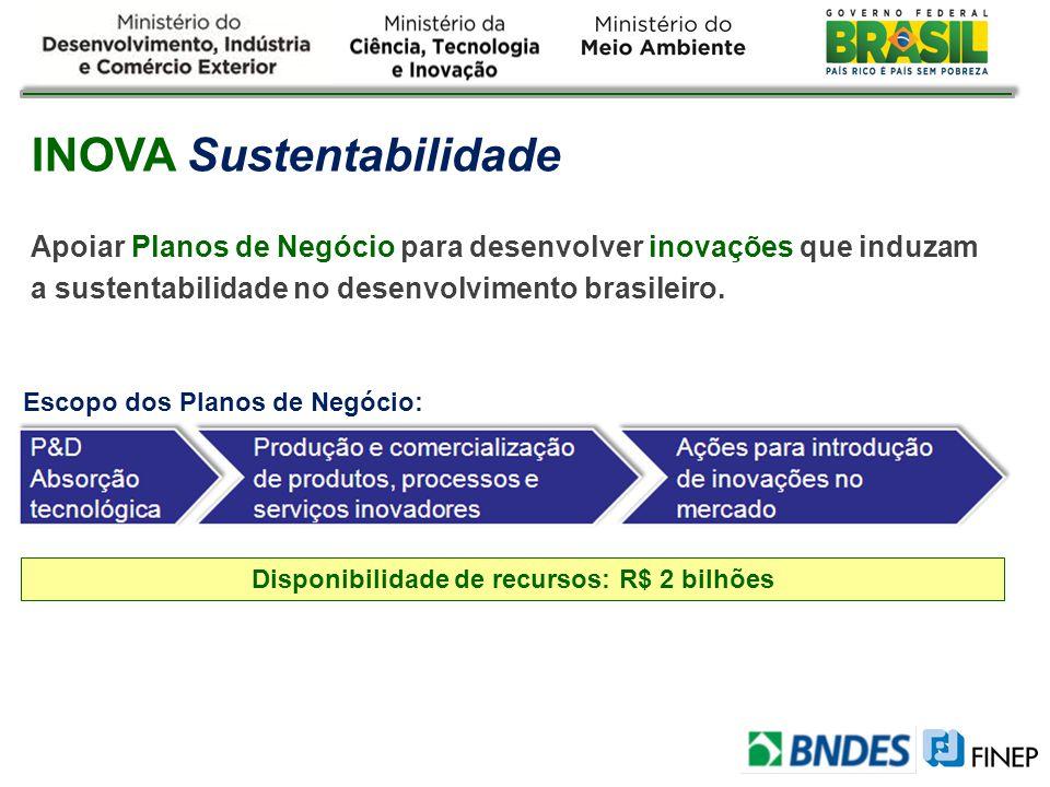 Disponibilidade de recursos: R$ 2 bilhões