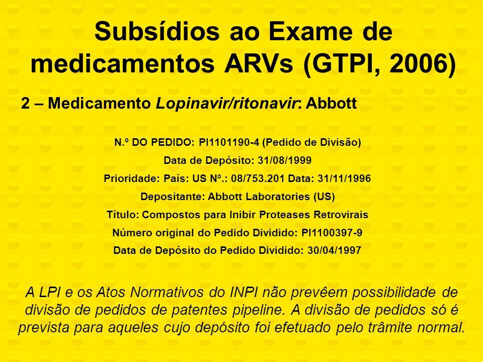 Subsídios ao Exame de medicamentos ARVs (GTPI, 2006)
