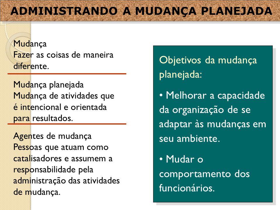 ADMINISTRANDO A MUDANÇA PLANEJADA