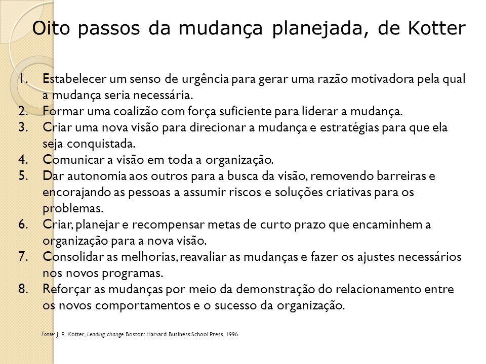Oito passos da mudança planejada, de Kotter