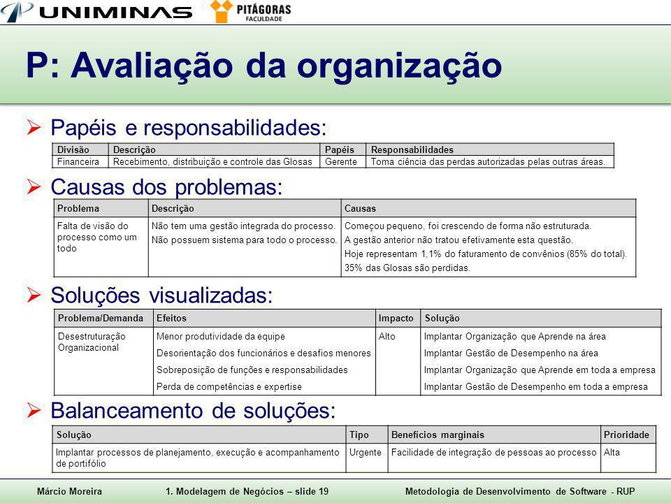P: Avaliação da organização