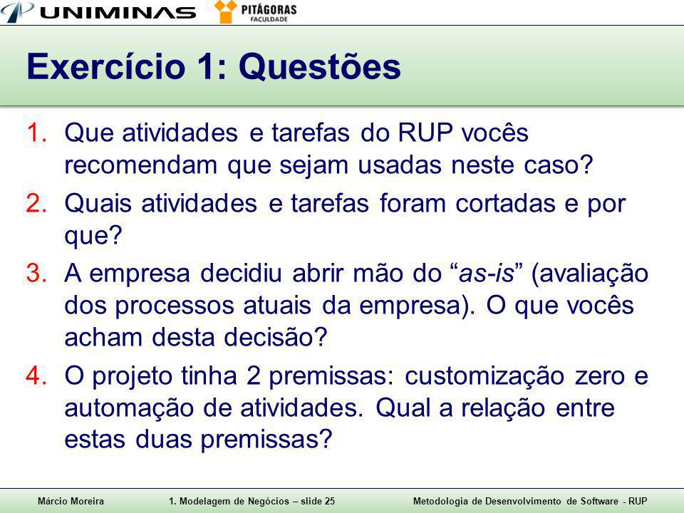 Exercício 1: Questões Que atividades e tarefas do RUP vocês recomendam que sejam usadas neste caso