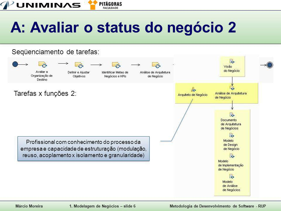 A: Avaliar o status do negócio 2