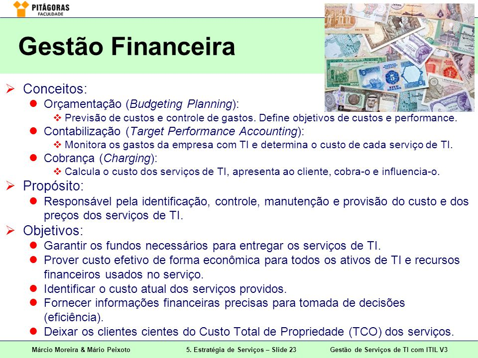 Gestão Financeira Conceitos: Propósito: Objetivos: