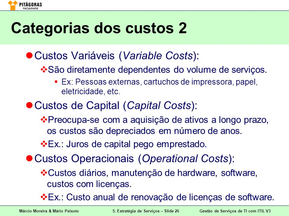 Categorias dos custos 2 Custos Variáveis (Variable Costs):
