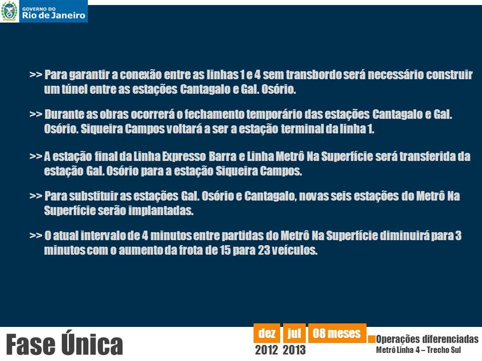 >> Para garantir a conexão entre as linhas 1 e 4 sem transbordo será necessário construir um túnel entre as estações Cantagalo e Gal. Osório.
