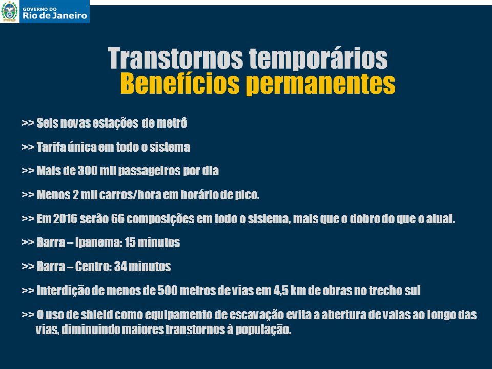 Transtornos temporários Benefícios permanentes