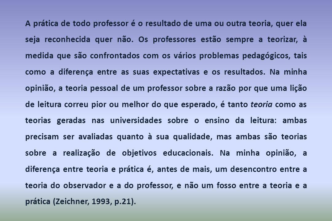 A prática de todo professor é o resultado de uma ou outra teoria, quer ela seja reconhecida quer não.