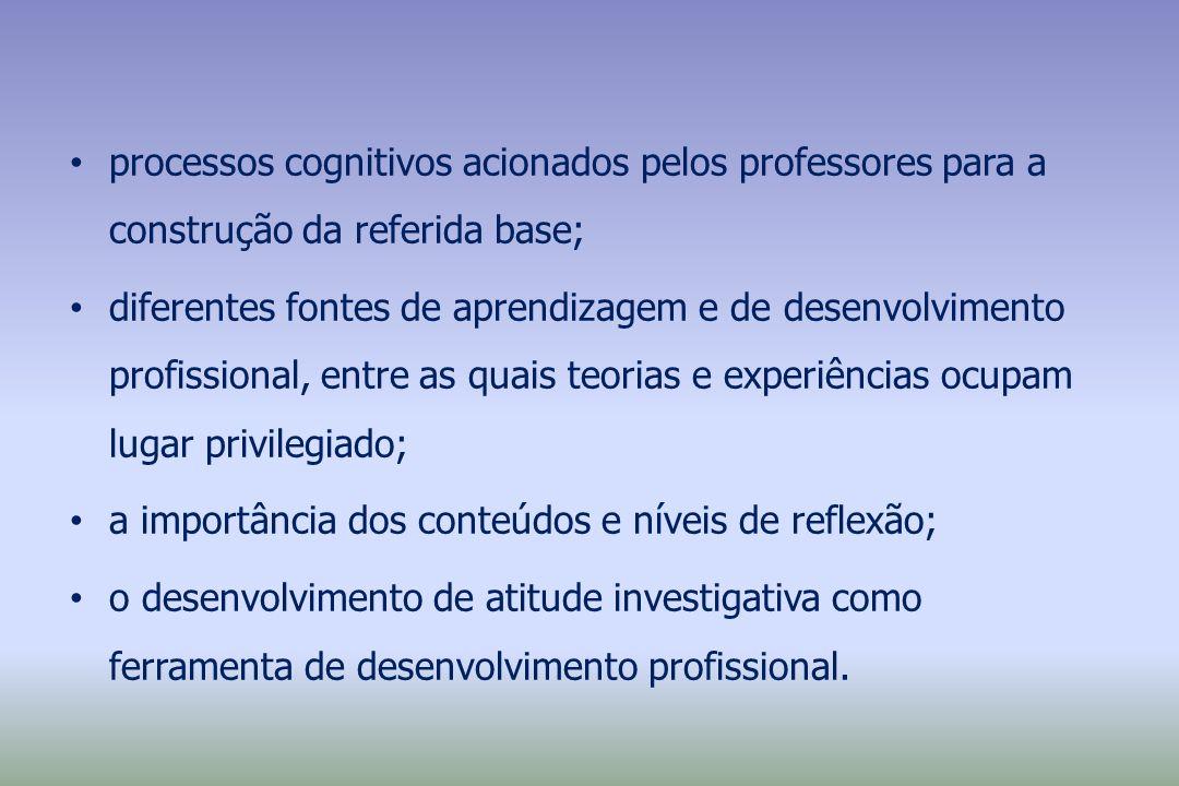 processos cognitivos acionados pelos professores para a construção da referida base;