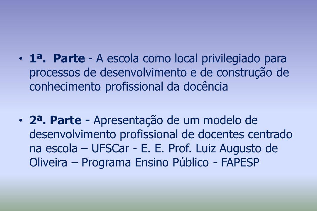 1ª. Parte - A escola como local privilegiado para processos de desenvolvimento e de construção de conhecimento profissional da docência