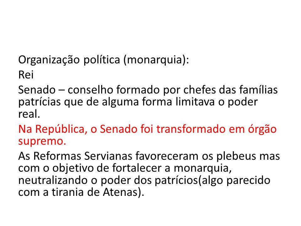Organização política (monarquia): Rei Senado – conselho formado por chefes das famílias patrícias que de alguma forma limitava o poder real.