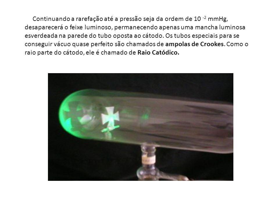 Continuando a rarefação até a pressão seja da ordem de 10 -2 mmHg, desaparecerá o feixe luminoso, permanecendo apenas uma mancha luminosa esverdeada na parede do tubo oposta ao cátodo.