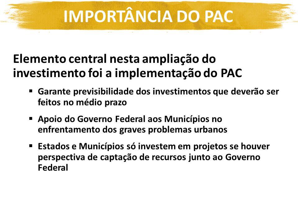 IMPORTÂNCIA DO PAC Elemento central nesta ampliação do investimento foi a implementação do PAC.