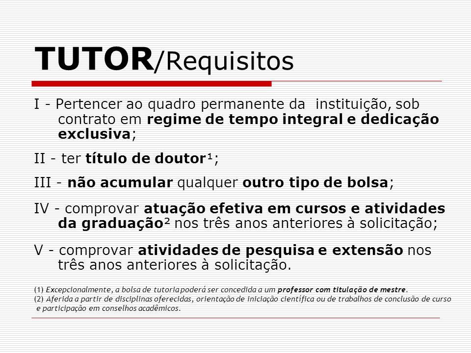 TUTOR/Requisitos I - Pertencer ao quadro permanente da instituição, sob contrato em regime de tempo integral e dedicação exclusiva;