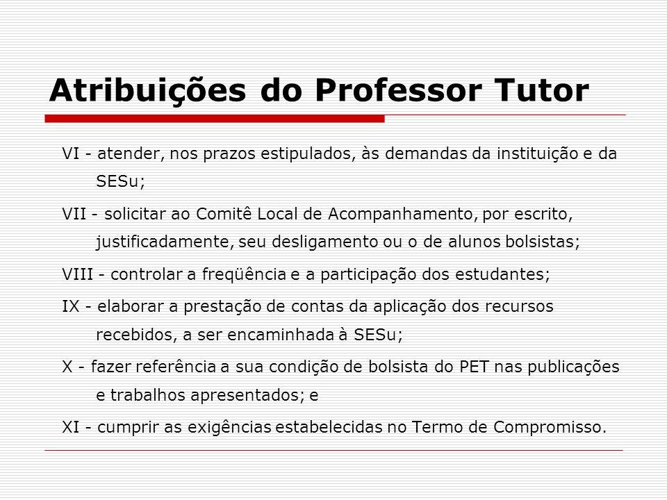 Atribuições do Professor Tutor