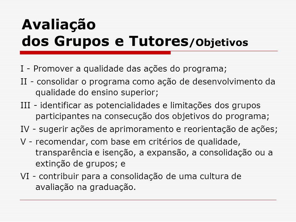Avaliação dos Grupos e Tutores/Objetivos