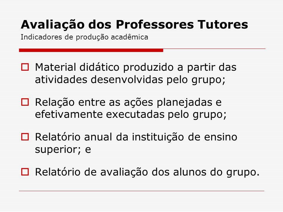 Avaliação dos Professores Tutores Indicadores de produção acadêmica