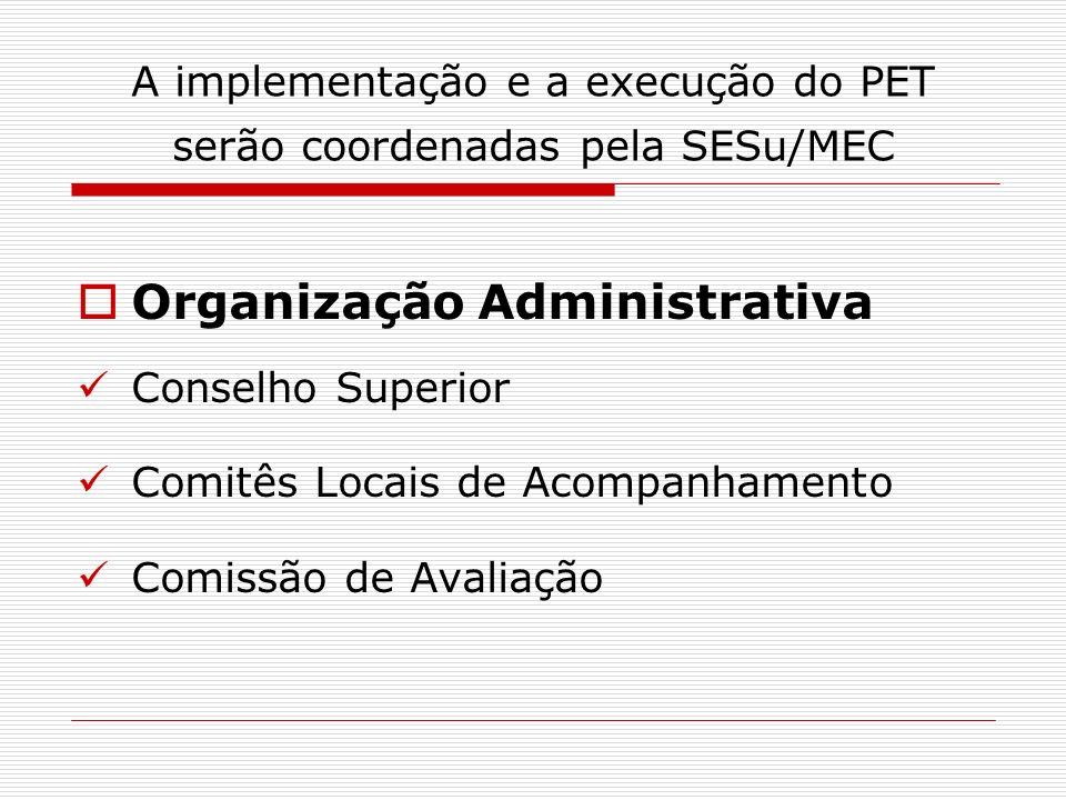 A implementação e a execução do PET serão coordenadas pela SESu/MEC