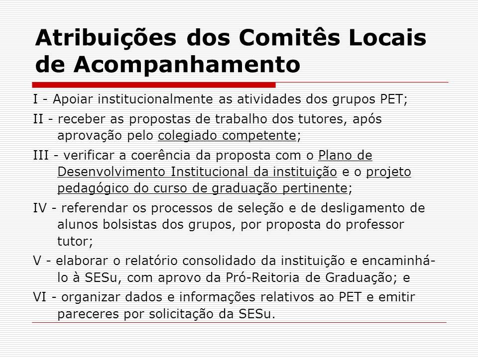 Atribuições dos Comitês Locais de Acompanhamento