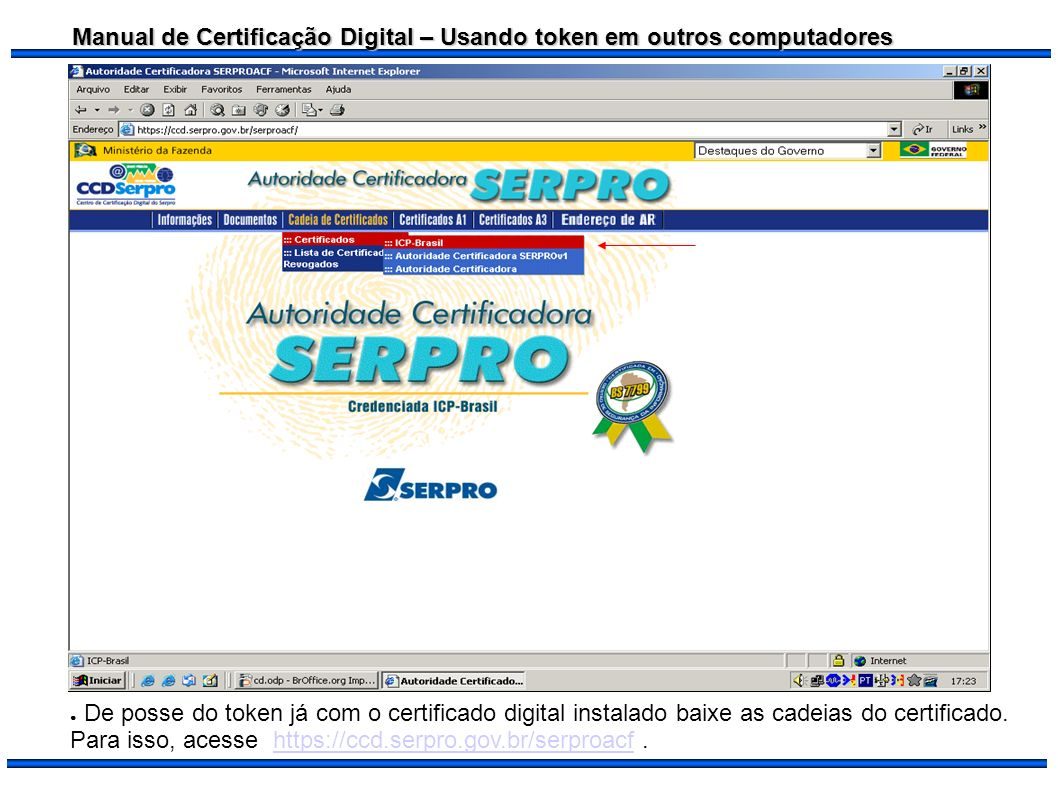 De posse do token já com o certificado digital instalado baixe as cadeias do certificado.
