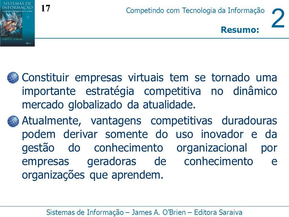 17 Resumo: Constituir empresas virtuais tem se tornado uma importante estratégia competitiva no dinâmico mercado globalizado da atualidade.