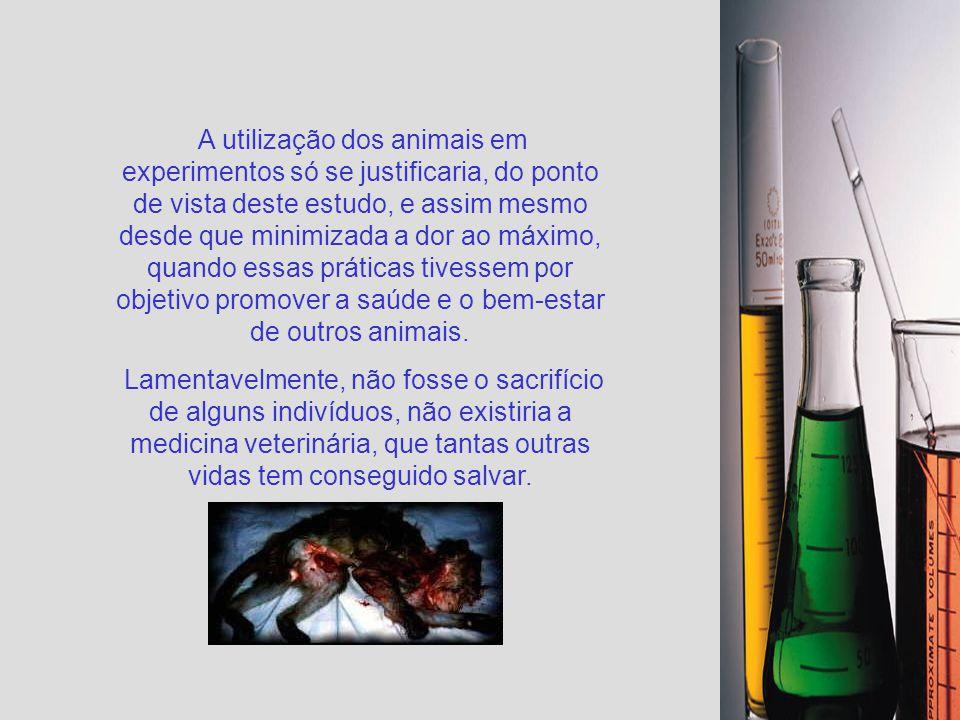 A utilização dos animais em experimentos só se justificaria, do ponto de vista deste estudo, e assim mesmo desde que minimizada a dor ao máximo, quando essas práticas tivessem por objetivo promover a saúde e o bem-estar de outros animais.