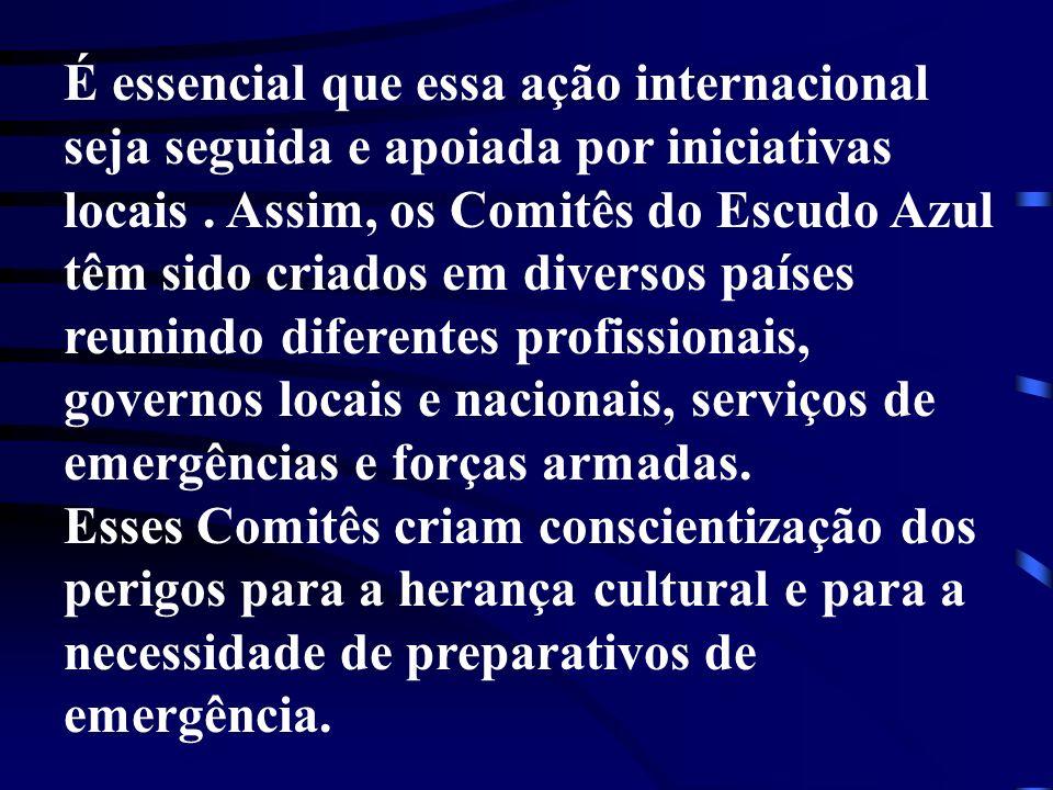 É essencial que essa ação internacional seja seguida e apoiada por iniciativas locais . Assim, os Comitês do Escudo Azul têm sido criados em diversos países reunindo diferentes profissionais, governos locais e nacionais, serviços de emergências e forças armadas.
