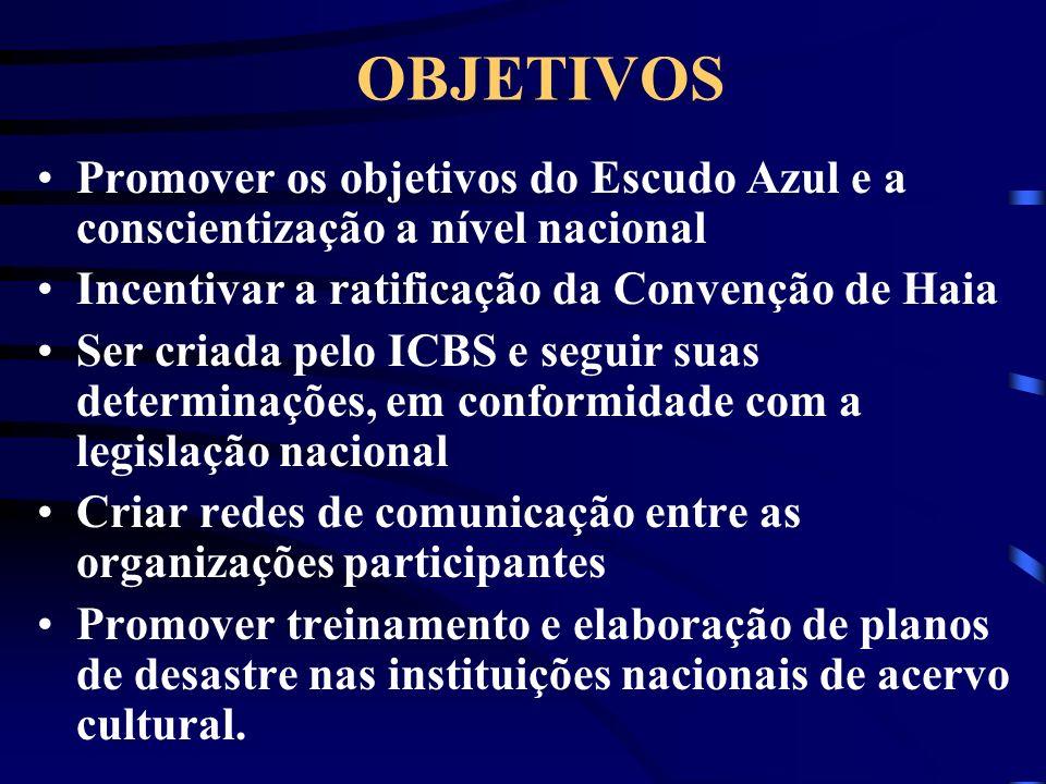 OBJETIVOS Promover os objetivos do Escudo Azul e a conscientização a nível nacional. Incentivar a ratificação da Convenção de Haia.