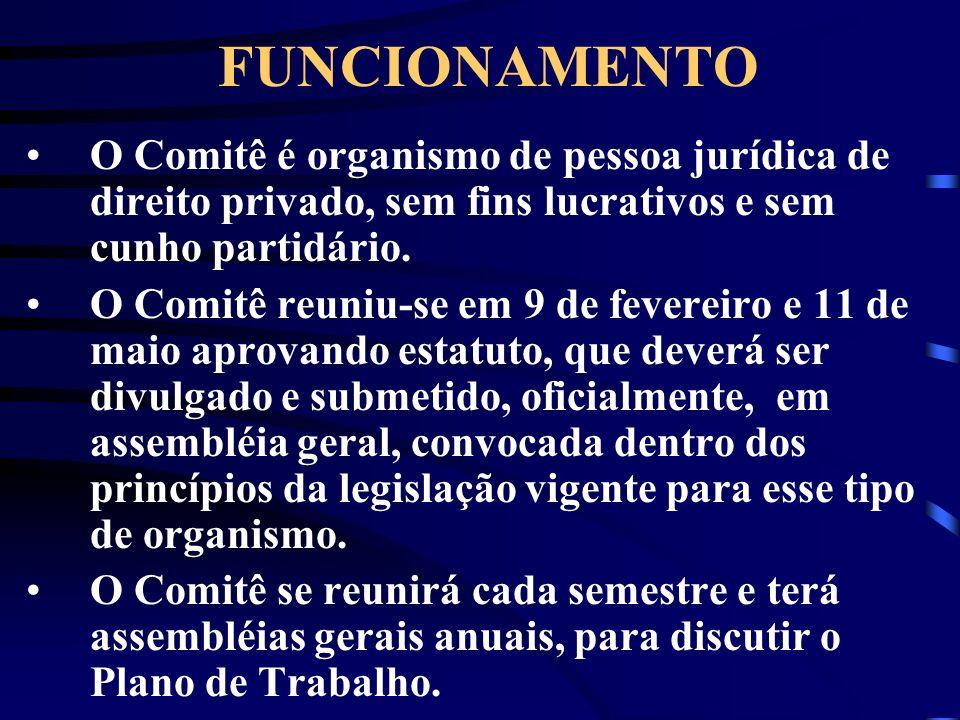 FUNCIONAMENTOO Comitê é organismo de pessoa jurídica de direito privado, sem fins lucrativos e sem cunho partidário.