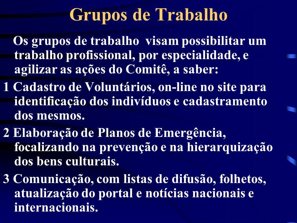 Grupos de Trabalho Os grupos de trabalho visam possibilitar um trabalho profissional, por especialidade, e agilizar as ações do Comitê, a saber:
